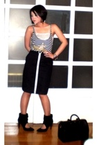 black Glitterati skirt - black Zara shoes - black Louis Vuitton bag