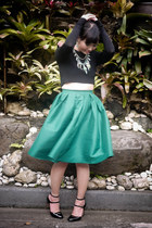 green christian dior bag - black Zara sweater - green Sheinsidecom skirt