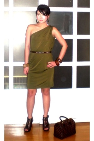mimi dress - Zara belt - Anthem shoes - Louis Vuitton purse - Bebe earrings - as