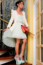 aquamarine DAS heels - aquamarine Bershka dress - ivory Pink Manila blazer