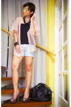 pink glitter Topshop pumps - black Givenchy bag - light blue denim Mango shorts