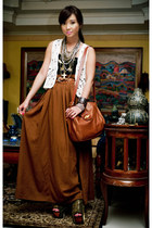 tawny maxi Zara skirt - black DAS shoes - tawny Vintage Italian bag