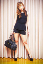 black peplum Topshop top