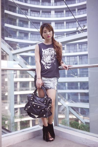 charcoal gray Forever 21 top - black Alexander Wang shoes - black balenciaga bag