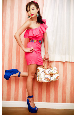 bubble gum Glitterati dress - white Louis Vuitton bag - blue suede DAS wedges