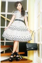 white 50s silhouette Graxie dress - black Chanel bag - black Topshop wedges