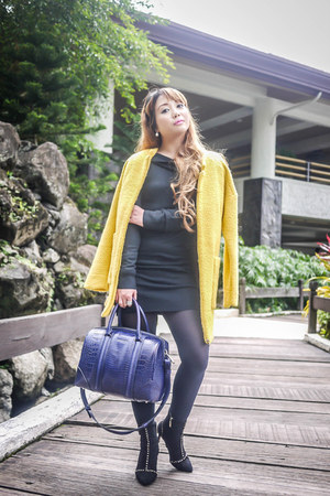 yellow romwe coat - navy Givenchy bag