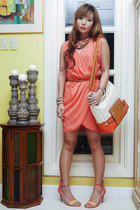 coral loewe bag - tawny Secosana bag - salmon suiteblanco dress