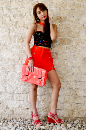 salmon S&H wedges - carrot orange Parisian bag - orange Fashion Galore shorts
