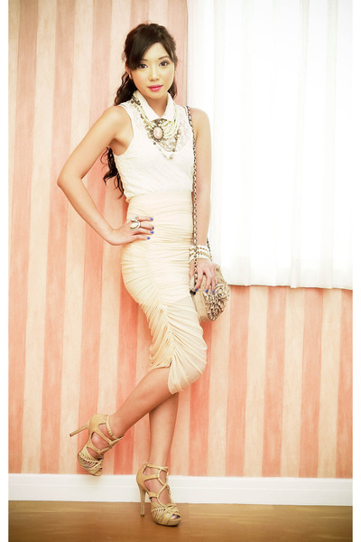 lace Topshop top - Topshop bag - ruched mesh Glitterati skirt - Topshop heels
