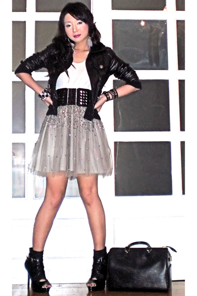 silver Gingersnaps skirt - black random from HK jacket - white giordano top - bl