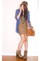 camel tieup rustic Topshop boots - camel pleated shift Topshop dress - burnt ora