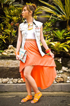 orange apartment 8 skirt - light orange tonic bag - white Topshop top