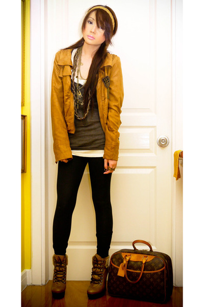 camel Zara jacket - camel Topshop boots - black plain Zara leggings