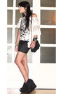 White-topshop-t-shirt-black-h-m-skirt-black-topshop-boots-vintage-purse-