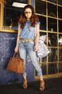 Blue-mango-jeans-tawny-hermes-bag-tan-tom-ford-sunglasses