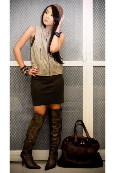 beige leather Zara vest - brown thigh high from US boots