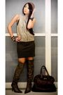 Beige-zara-vest-brown-mango-dress-brown-from-us-boots-brown-ysl-bag-brow