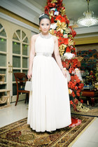 white Glitterati dress - silver heels