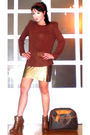Brown-zara-blouse-gold-glitterati-skirt-brown-louis-vuitton-purse-brown-on