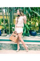 off white Forever 21 shorts - tawny Hermes bag - beige Forever 21 heels