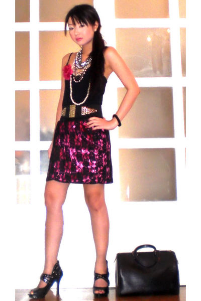black Glitterati belt - pink Glitterati skirt - black online shoes - silver Fudd