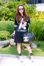 black Zara dress - black Chanel bag - black Prada glasses