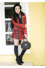 Black-gravity-shoes-red-zara-blazer-black-vintage-bag-black-h-m-vest