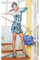 aquamarine Glitterati dress - blue Celine bag - blue strappy Tyler heels