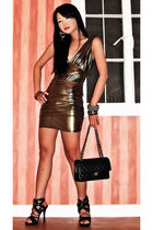 255 Chanel bag - black online shoes - gold bodycon glitter Forever21 dress