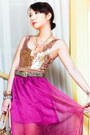 Magenta-glitterati-skirt-neutral-used-as-top-forever-21-dress