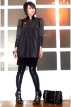 john herrera jacket - forever 21 dress - Maple at Hong Kong leggings - Chanel pu