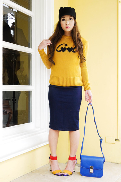 black Zara hat - mustard Zara sweater - blue Lannel bag