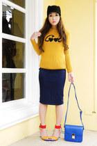 black Zara hat - mustard Zara sweater - blue Lannel bag