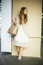 light pink Zara vest - ivory vintage dress