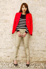Black-mango-sweater-red-mango-blazer-black-mango-bag-camel-mango-pants