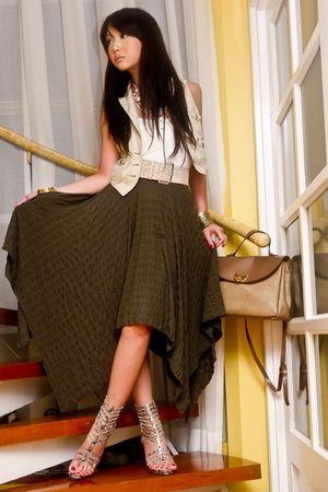 green vintage - beige Mango vest - white Topshop top - beige Nina Ricci purse -