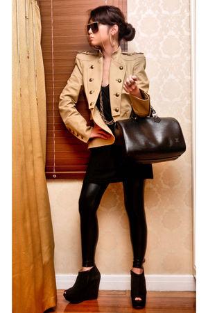 black leggings - black Topshop boots - beige Zara blazer