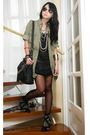 Green-zara-blouse-black-zara-top-black-h-m-skirt-black-topshop-stockings-