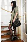 Green-zara-blouse-black-zara-top-black-h-m-skirt-black-topshop-stockings-