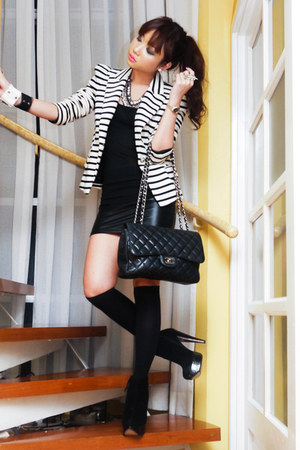 black suede platform Topshop boots - white striped Zara blazer