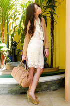 cream lace Forever21 skirt - camel twill H&M blazer - nude stam Marc Jacobs bag