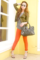 burnt orange Zara jeans