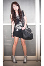 Black-mango-dress-black-random-bag-black-ankle-marks-spencer-socks-silve