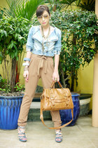camel Mango pants - light blue Zara jacket - tawny satchel Topshop bag