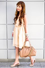 Peach-zara-dress-nude-marc-jacobs-bag-neutral-zara-flats