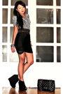 White-zara-blouse-black-glitterati-belt-black-topshop-skirt-black-topshop-