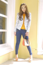 blue Zara jeans - white Zara blazer - orange Zara shirt - camel Lancel bag