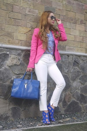 hot pink Zara blazer - blue Yves Saint Laurent bag