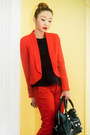 Red-mango-blazer-black-balenciaga-bag-red-zara-pants-black-topshop-top